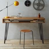 電腦桌北歐實木書桌復古辦公桌簡約工作桌美式鐵藝雙層台式電腦桌寫字台LX 特惠上市