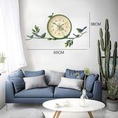 歐式田園小鳥掛鐘美式創意靜音鐘錶客廳臥室時鐘現代簡約裝飾掛錶   WD聖誕節快樂購