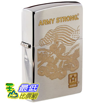 [104 美國直購] Zippo Pocket Lighter Engraved Army Strong Windproof Lighter, Brushed Chrome 打火機