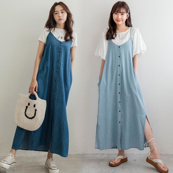MIUSTAR 側開衩細肩排釦牛仔洋裝(共2色)【NJ2021】預購
