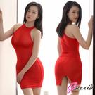 性感短裙 情趣商品 角色扮演 Gaoria 性感絲滑 透明後開叉緊身裙 半身裙 包裙 紅 薄紗 透氣