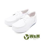 W&M(女)氣墊舒適綁帶款護士鞋 娃娃鞋 女鞋-白