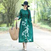 實拍棉麻印花洋裝連身裙秋裝女新款中長款復古大尺碼寬鬆民族風裙子洋裝 店慶降價