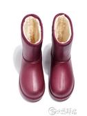 雨靴 冬季加絨雨鞋女保暖中筒棉雨靴成人廚房防滑加棉水靴防水水鞋