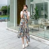 兩件套T卹裙子S-2XL新款碎花雪紡吊帶連身裙套裝法式顯瘦長裙女夏超仙裙子H325-9106.皇潮天下