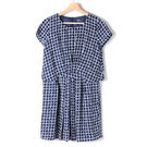 【MASTINA】滿版格子洋裝-深藍 網...