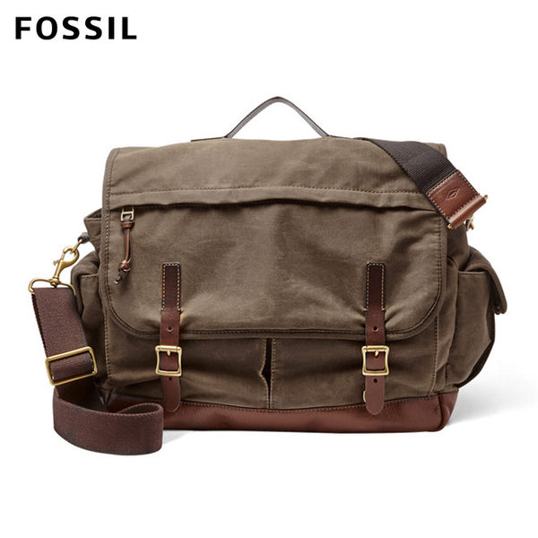 FOSSIL Defender 咖啡色可提式帆布郵差包