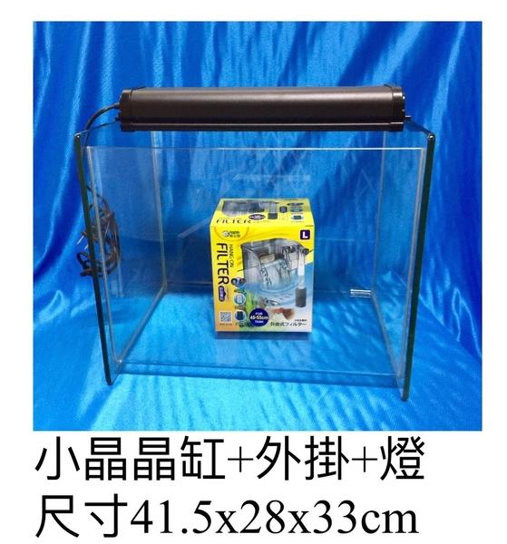 {台中水族}  小晶晶魚缸+ 外掛過濾器+燈具/組  特價   觀賞魚 淡水缸 海水缸皆適用