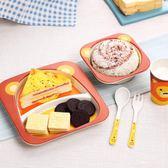創意竹纖維兒童餐具吃飯餐盤分隔格嬰兒飯碗寶寶輔食碗叉勺子套裝   聖誕節快樂購