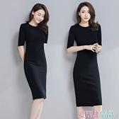 秒殺中袖洋裝打底內搭連身裙秋黑色修身氣質中長款女裝春裝中袖打底裙 交換禮物
