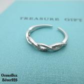 §海洋盒子§細版鑲鑽無限曲線925純銀開口式戒指 (925純銀外鍍專櫃級正白k)
