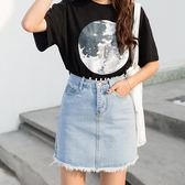 夏季a字牛仔短裙女韓版顯瘦百搭半身裙子流蘇高腰A字褲裙包臀潮