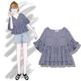 T恤—小可愛風格子娃娃衫韓版夏季新款寬鬆套頭荷葉邊圓領T恤 草莓妞妞