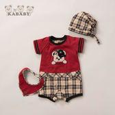 【金安德森】春夏彌月禮盒-嘻哈男熊假兩件兔裝-紅色
