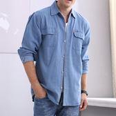 春款中年男士牛仔襯衫長袖寬鬆加肥加大尺碼工作服夏季短袖防曬上衣 【好康八五折】