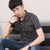 青少年正韓修身短袖襯衫男個性條紋印花襯衣休閒潮流男裝