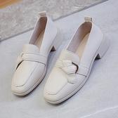 黑色粗跟單鞋女2021春秋新款百搭英倫粗跟小皮鞋平底樂福鞋ins潮 夏季新品