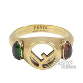 茱麗葉精品【全新現貨】FENDI 鏤空雙F LOGO復古鑲飾環戒.古銅金