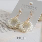 PUFII-耳環 正韓氣質珍珠圓形耳環-0323 現+預 春【CP18197】