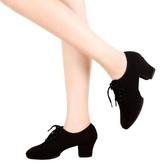 拉丁舞鞋女成人中高跟軟底牛津布交誼舞蹈鞋摩登教師水兵廣場舞鞋