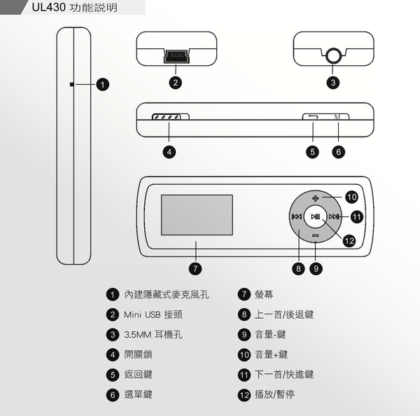 【特販+免運費】人因 MP3 語言學習機 蜜糖吐司 UL430 8GB MP3隨身聽-金珈啡X1(全中文圖示操作介面)
