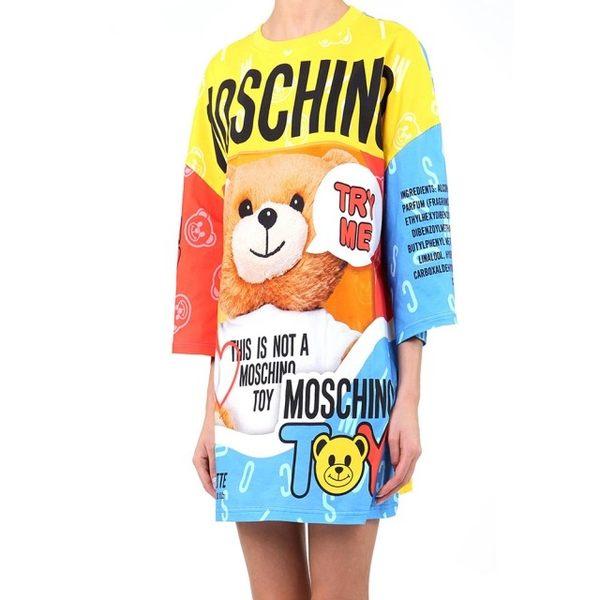 【MOSCHINO】熊熊圖案七分袖長版洋裝(黃色拼藍紅)  0401 9140 1888