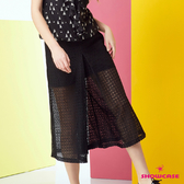 【SHOWCASE】簡約鏤空網布微透後鬆緊顯瘦寬褲(黑色)