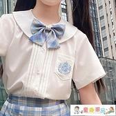 女童短袖 女童風琴褶白色襯衫短袖JK制服洋氣時髦夏裝兒童上衣夏季薄款12歲 童趣