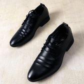 雙十一狂歡皮鞋男尖頭皮鞋男夏季正裝商務黑色青少年學生西裝英倫韓版休閒鞋子