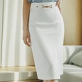 西裝裙-高腰包臀直筒斜開叉女裙子74am2[巴黎精品]