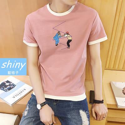 【Y104】shiny藍格子-港風潮流.夏季新款修身撞色印花圓領短袖T恤