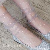 網紗襪新款春夏日繫星星月亮透明網紗蕾絲堆堆打底中筒短襪女襪子2雙裝 艾美時尚衣櫥