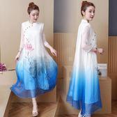 連衣裙 新款大尺碼女裝中國民族風立領連衣裙胖mm顯瘦水墨畫旗袍茶藝服