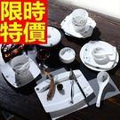 陶瓷餐具套組含碗盤餐具-獨特冬季戀方型碗...