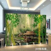 屏風花鳥中式屏風隔斷時尚簡約現代客廳臥室辦公室行動折疊布藝折屏qm    JSY時尚屋