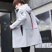 風衣男  秋裝夾克外套男士韓版修身青少年中長款潮流帥氣風衣春季外衣褂子·夏茉生活