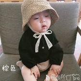 兒童童帽 夏款兒童草帽韓國寶寶遮陽帽防曬帽沙灘蕾絲繫帶帽子親子 寶貝計畫