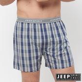 【JEEP】五片式剪裁 純棉平口褲(灰藍格紋)