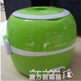 220V電熱飯盒不銹鋼雙層可插電加熱蒸煮飯器小型保溫電飯盒 igo魔方數碼館