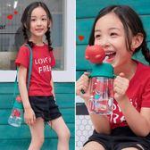 韓國杯具熊兒童水杯吸管杯寶寶學飲杯幼兒園防摔水壺夏季可愛卡通