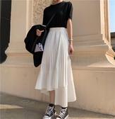 不規則壓摺荷葉邊半身裙女春中長款高腰寬鬆百摺裙長裙 限時熱賣