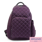 iBrand後背包 率性菱格紋後開式防盜尼龍後背包(M)-優雅紫 HS-2003