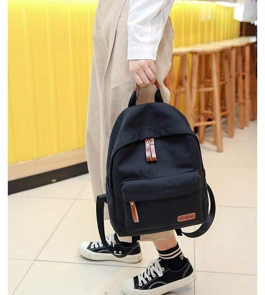 missU 素色後背包 韓版情侶背包 帆布背包 學生休閒背包 迷思悠 803RR5429