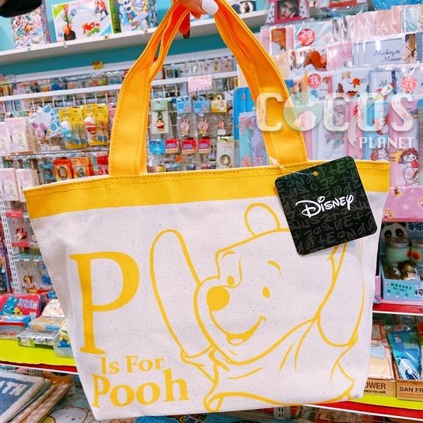 正版 迪士尼 小熊維尼 維尼熊 維尼 雙面圖案 帆布拉鍊便當袋 手提袋 收納袋 餐袋 購物袋 COCOS DK280