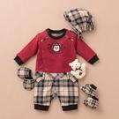 【金安德森】秋冬新生兒多件組禮盒-聖誕熊長兔裝-紅色
