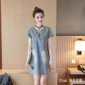 Pink中大尺碼牛仔洋裝 2019夏季新款韓版女裝中長款簡約氣質時尚修身顯瘦短袖牛仔連身裙 nm21232
