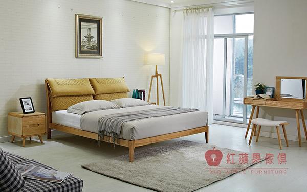 [紅蘋果傢俱] C-007 馨朵拉系列 北歐床台 六尺床 日式床架 白蠟木床台 全實木 床頭櫃