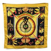 【奢華時尚】秒殺推薦!HERMES 巴西花卉圖案印刷駝黃色90公分方形絲質大披肩(八五成新)#23401