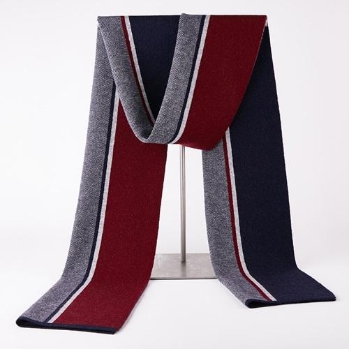 羊毛圍巾-秋冬簡約條紋針織男披肩3色73wh13[時尚巴黎]