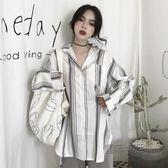 棉麻上衣 韓版氣質簡約條紋寬鬆顯瘦棉麻長袖襯衫休閒防曬襯衣上衣  『魔法鞋櫃』